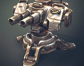 Sci-Fi Turret Constructor 3D model animated