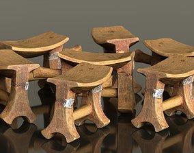 3D asset Headrest Africa Wood Furniture Prop 25