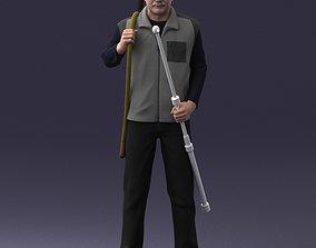 Elderly man with gun and fishing rod 0206 3D Print Ready