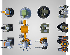12 Rigged Turrets PACK - part1 and part2 3D asset