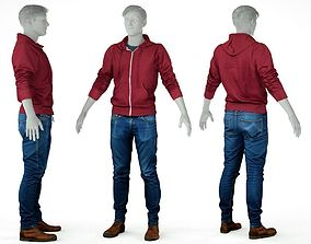 Male Casual Outfit 5 Hoodie Jeans Trousers 3D model