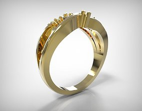 3D printable model Twisted Design Golden Jewelry Ring