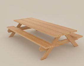 Picnic Bench Lowpoly 3D asset