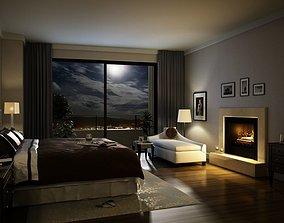 3D model Elegant Cozy Dark Bed Room