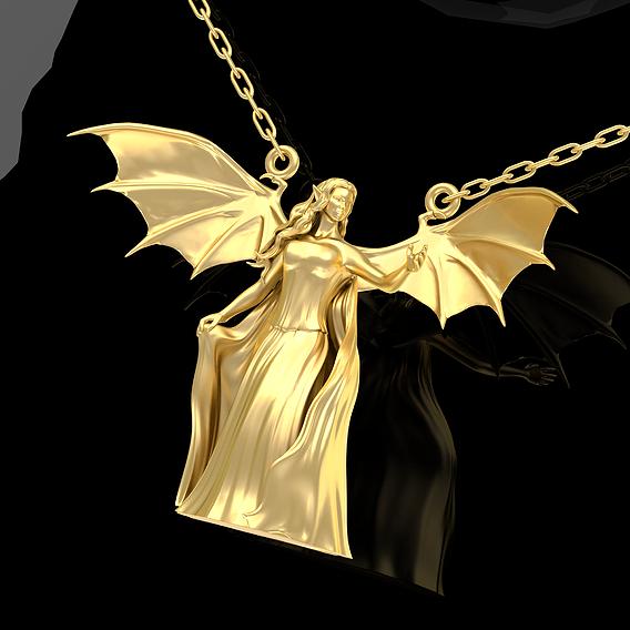 Demon Queen Pendant Jewelry Gold 3D print model