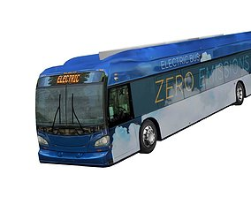 realtime Electric bus New Flyer Xcelsior based low poly 3d