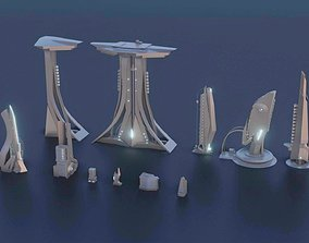 3D asset realtime Low Poly Sci-Fi kitbash mini set
