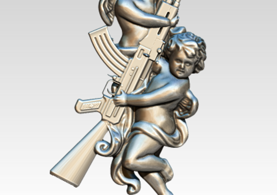 Cupid Angel AK47 Tatto Pendant Relife