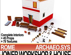 3D Ancient Roman Town Joiner Workshop House 3 2