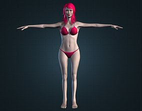 3D model Cute Asian Sexy Nude Brunette Girl in Bikini