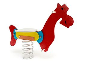 Playground Toy Red Spring Horse 3D