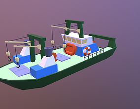 3D model game-ready Low poly ship