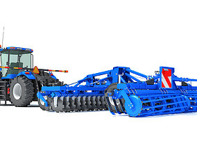 New Holland Tractor with Disc Harrow 3D