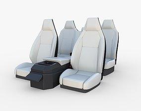 3D Tesla Cybertruck Seats White