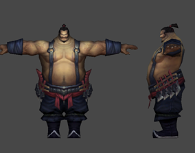animated Sumo Wrestler low-poly rigged 3d model