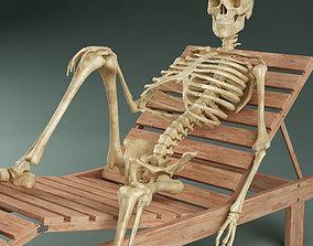 Skeleton on sunbed 3D