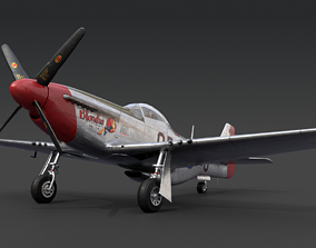 3D asset animated realtime P51 Mustang
