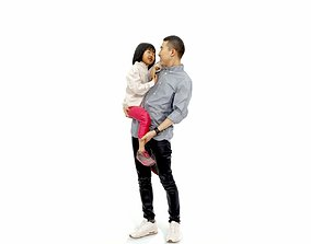 Happy Man Carrying Small Girl CFam0301-HD2-O01P01-S 3D