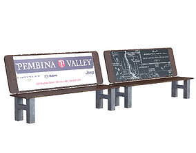 Street bench architecture 3D model
