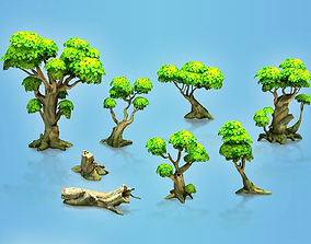 Low poly forest trees 3D asset rigged