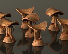 3D asset Headrest Africa Wood Furniture Prop 11