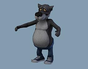 Wolf cartoon 3D asset
