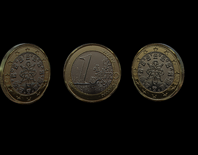 1 Euro Coin - Portugal 3D asset
