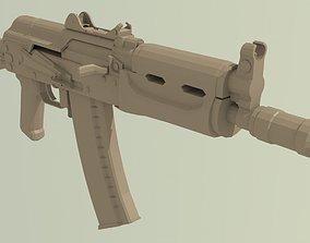 AKS-74U 3D asset low-poly gun