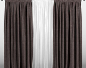 3D Brown curtains with tulle