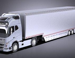 Volvo FH16 Globtrotter Trailer 2013 VRAY 3D
