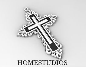 RELIGIOUS CROSS 9 with BLACK STONE 3D printable model