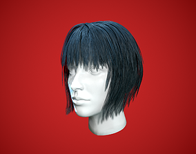 3D asset realtime Low poly female hair