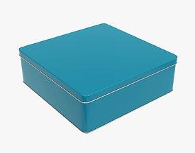 Metal tin can rectangular shaped flat 3D