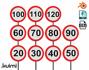 3D model Road Sign - Speed Limit Pack - Universal 004