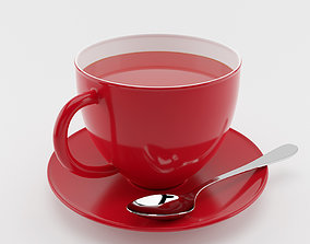 VR / AR ready Cup of Tea with spoon 3D model