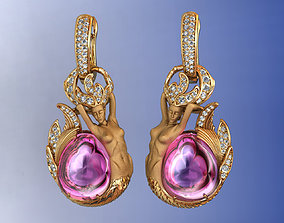 Atlantis Mermaid Earrings with Diamond 3D print model