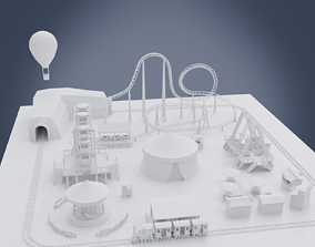Amusement park train 3D model