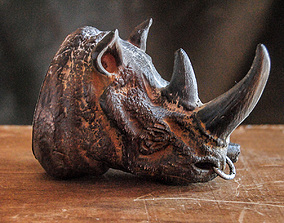 RHINO HEAD BUST - WITHOUT OR WITHOUT CIGAR 3D print model