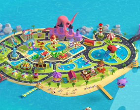 Cartoon island Low poly 3D for Games Low-poly 3D realtime