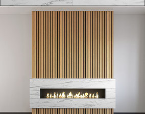 Wall Panel Set 126 Fireplace 3D