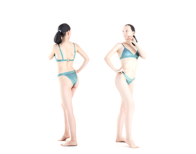 Pretty woman in a swimsuit 03 3D asset