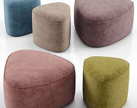 3D model Pebble ottoman - West Elm