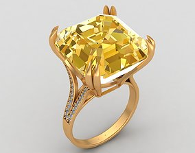 Graff Vivid Yellow Diamond Gold Ring 3D print model
