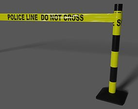 Police Line Do Not Cross Tape and Post 3D asset
