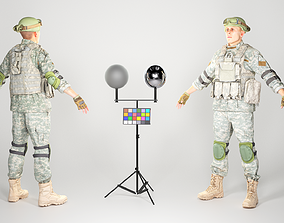 Fully equipped American soldier in ACU uniform 3D asset 3