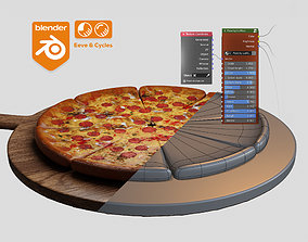 low-poly Pizza material Procedural and game ready model
