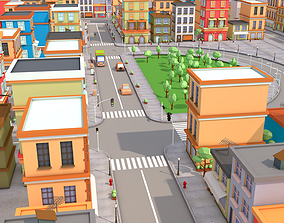 3D asset realtime city low poly