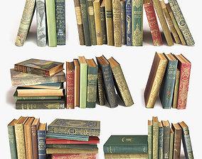 old books on a shelf set 3 3D model