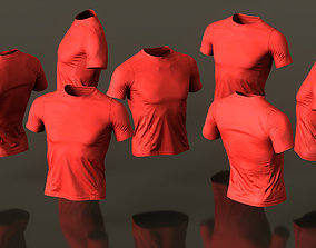 3D asset Mens Clothing Red Sports Tshirt