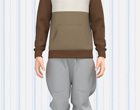 Mens Cut and Sew Hoodie and Sweat Pant 3D asset